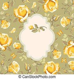 roses, fleur, retro, card-
