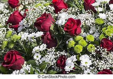 roses, fleurs blanches, rouges