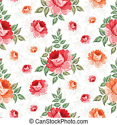 Roses, floral background, seamless pattern