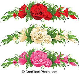 roses, fond blanc