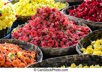 Roses for Sale at a Indian Flower Market