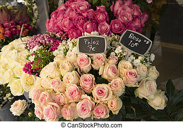 Roses for sale in Paris flower shop
