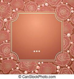 roses., frame, vector, silhouette