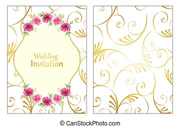 Roses frame wedding invitation