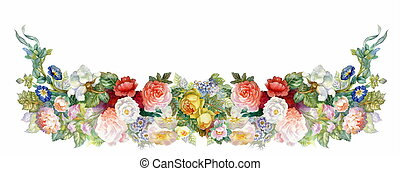 Roses Garland, background, banner, ornament, watercolor, sketch