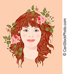 roses, girl, gingembre