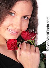 roses, girl, jeune, rouges, portrait