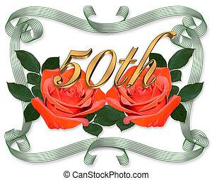 roses, graphique, 50th, rouges, anniversaire