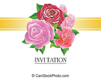 Roses greeting card with gold banne