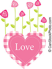 Roses grow from heart. Romantic vector card