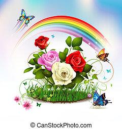 roses, herbe