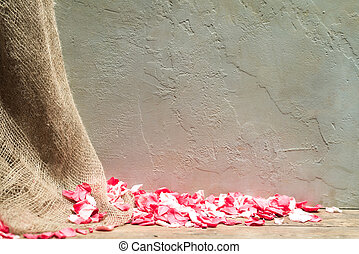 Roses, Hessian and Wall Background - Rose Petals, Hessian...