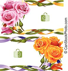 roses, horizontal, vecteur, ensemble, cadre