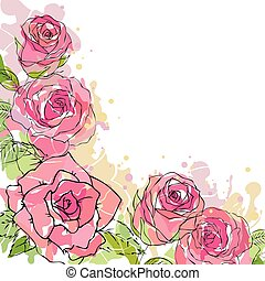 Roses illustration background