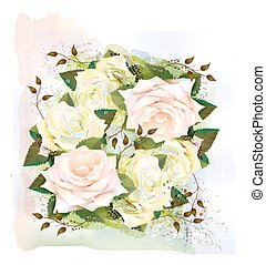 Roses. Imitation of watercolor painting.