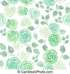 Roses in chalky pastel green background watercolor medium