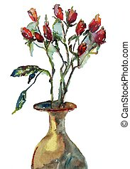 Roses in the vase - watercolor style