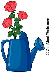 Roses in watering can cartoon style on white background