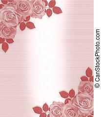 roses, invitation, mariage, rose