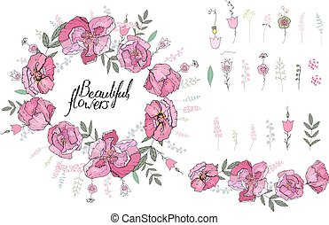 Roses isolated on white. Decor ative elements and border made of roses and stylized herbs