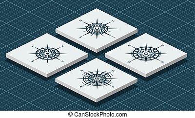 roses, isométrique, ensemble, compas