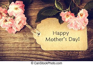 roses, jour, carte, mères