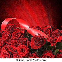 roses, jour, rouges, st.valentine's