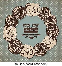 roses., kártya, szüret, keret, kerek