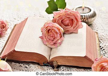 roses, livre, vieux, ouvert, mensonge