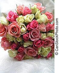 roses, mariée