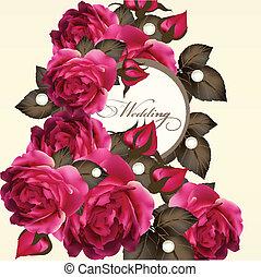 roses, mariage, carte, invitation