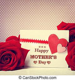 roses, message, heureux, jour, mères