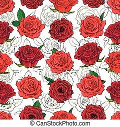 roses, modèle, feuilles, seamless, main, arrière-plan., dessiné, fleurs blanches, rouges