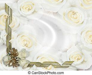 roses, noce blanche, invitation
