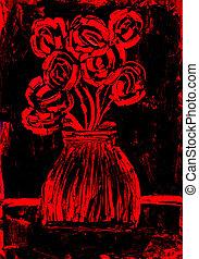 roses, noir, peinture, rouges