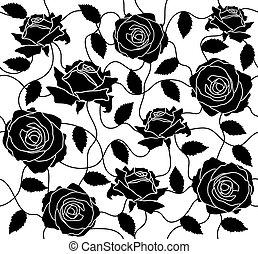 roses, noir, seamless