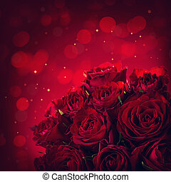 Roses on a red background