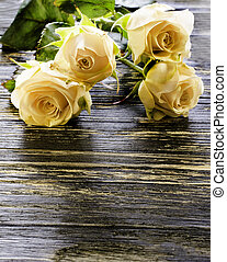 Roses on a wooden background.