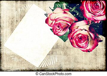 Roses on grunge background