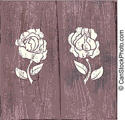 Roses on wood - Knurl of roses on old wooden background