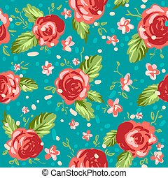 Roses ornament on blue background