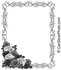 Roses Ornamental Border Black white - Roses monochrome...