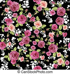 Roses pattern on black background