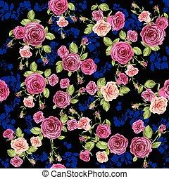 Roses pattern on dark background
