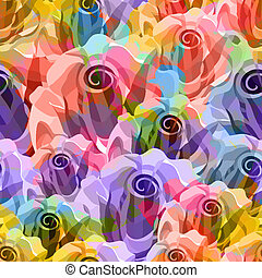 Roses Pattern. Vector, EPS 10 - Roses Abstract Pattern....