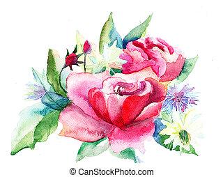 roses, peinture, aquarelle, fleurs, beau