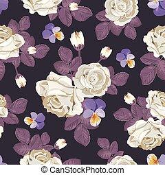 roses, pensées, pattern., seamless, illustration, feuilles, sombre, arrière-plan., vecteur, retro, violet, floral, blanc