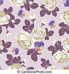 roses, pourpre, lumière, pensées, pattern., seamless, illustration, feuilles, arrière-plan., vecteur, retro, violet, floral, blanc