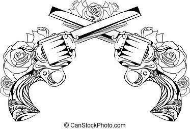 roses., revolver, vektor, design, tã¤towierungen, abbildung, weinlese, zwei, duel., postcards.