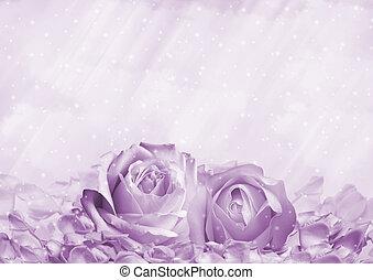 roses, romantique, fond